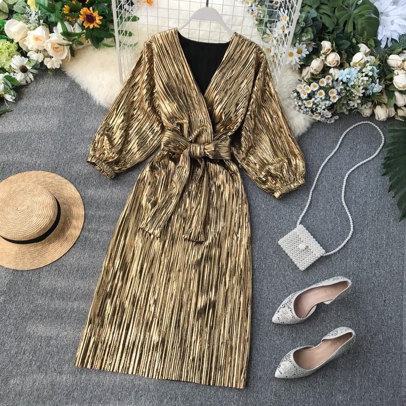 Vestido de outono feminino longo bronzeamento 2019 novo francês elegante vintage retro v-neck vestidos das senhoras puff manga vestido feminino plissado