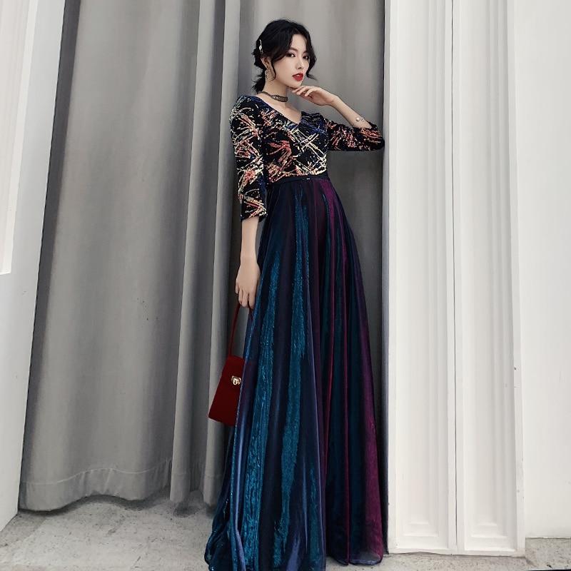 AE658 Robe De Soiree Evening Dresses Long A-Line V-Neck Vintage Formal Dresses Elegant Party Gowns 2019