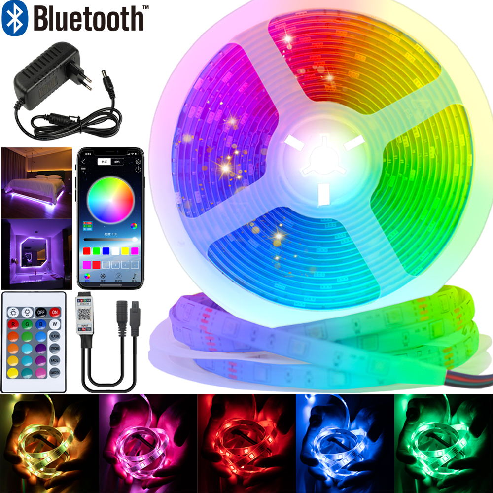LED Strips Lights Bluetooth Luz Led RGB 5050 SMD 2835 Flexible Waterproof Tape Diode 5M 10M 15M 20M DC12V Remote Control+Adapter