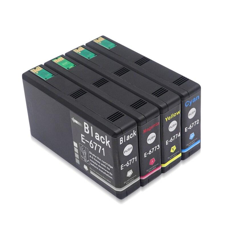 4Pcs Compatible Ink Cartridge T6771 T6772 T6773 T6774 for Epson WorkForce Pro WP-4011 WP-4091 WP-4511 WP-4521 WP-4531 WP-4592 недорого