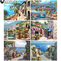 nordic abstract seaside village dolphin diamond painting 5ddiy wall art house building diamond embroidery inlaid home room decor