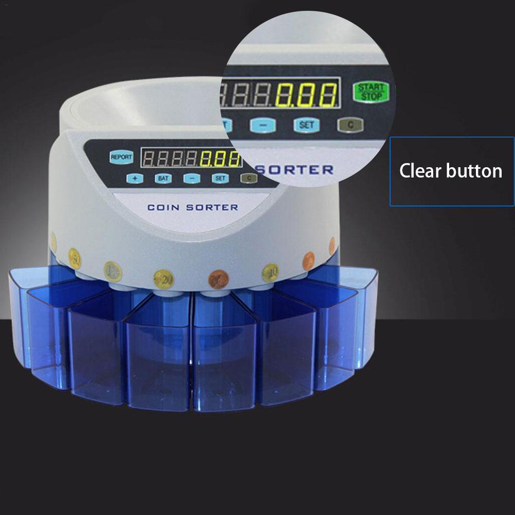 Электронный сортировщик монет счетчик монет Счетная машина пользовательский дисплей общее значение и количество 8 валютных контейнеров