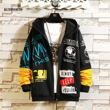 Spring and Autumn Men Jacket Casual Streetwear Hip-Hop Graffiti Printing Oversized Hooded Jacket Men