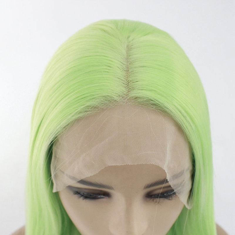 Lace Front Wig Heat Resistant Fiber Light Green Color 26 Inches Long Straight Glueless Synthetic Lace Cosplay Wigs for Women  - buy with discount