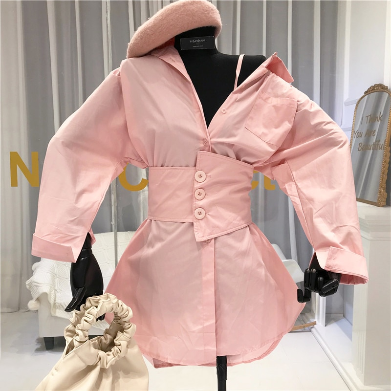 Pink Long Shirts Women New 2020 Spring Women Long Sleeve Tops White Orange Blusa Manga Comprida Feminina  Sashes