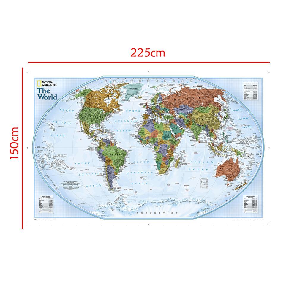 Mapa No tejido a prueba de agua, mapa del mundo de 150x225cm con ciudades importantes de varios países marcados Sin Bandera Nacional