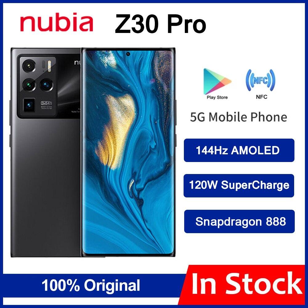 Оригинальный ZTE Nubia Z30 Pro 5G смартфон 6,67 дюйм amoled 144 Гц гибкий изогнутый Экран Snapdragon 888 Octa Core 120W SuperCharge