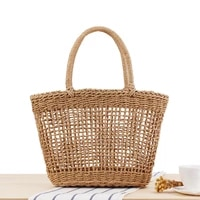 fashion portable hollow woven hand beach bag for holiday vegetable basket personalized straw shopping fruit handbag
