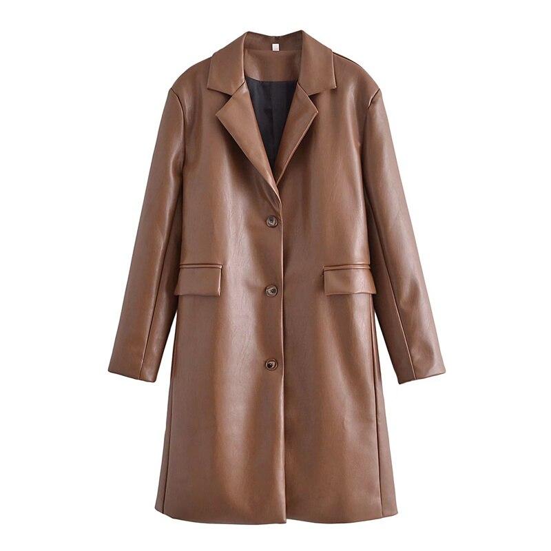 معطف طويل من الجلد الصناعي البني من ZXQJ موضة خريف وشتاء 2021 ملابس جيب كبيرة الحجم للسيدات ملابس خارجية محززة من البولي يوريثان متينة للنساء