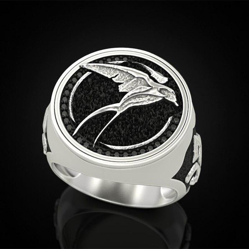 Anillo de plata envejecida con diseño de bruja, caza salvaje, pájaro, arco, anillo vikingo occidental para hombre, accesorios góticos de joyería para fiestas B4M834