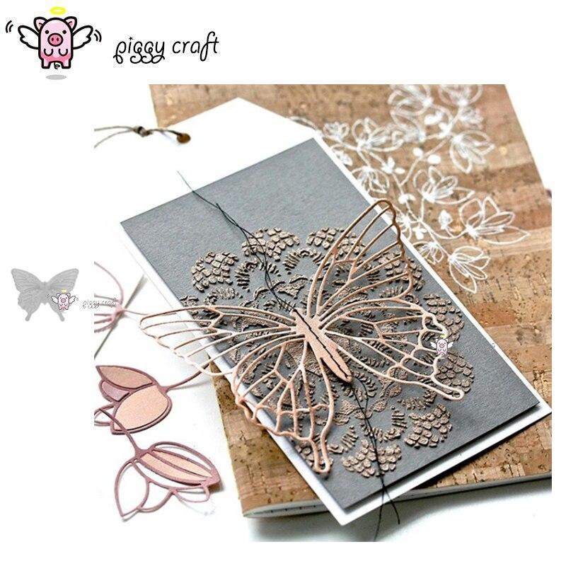 Manualidad de cerdito de corte de metal muere corte plantilla decoración de la mariposa Scrapbook molde artesanal para corte de papel plantillas para perforar con cuchillas muere