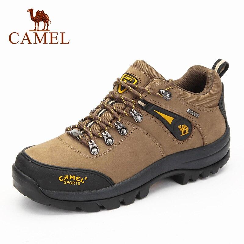 CAMEL-أحذية المشي لمسافات طويلة الجلدية للرجال ، أحذية المشي لمسافات طويلة في الهواء الطلق ، غير قابلة للانزلاق ، مسامية ، للتسلق والرحلات