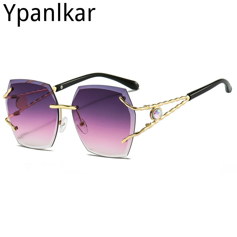 Модные солнцезащитные очки, женские роскошные солнцезащитные очки без оправы, мужские темные очки неправильной формы, уличные женские солн...