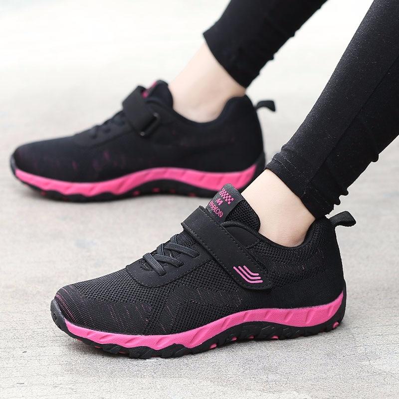 السيدات أحذية رياضية خفيفة تنفس حذاء مسطح ارتداء مقاومة المضادة للانزلاق أحذية مفلكنة النساء الراحة حذاء كاجوال أحذية الفيلكرو