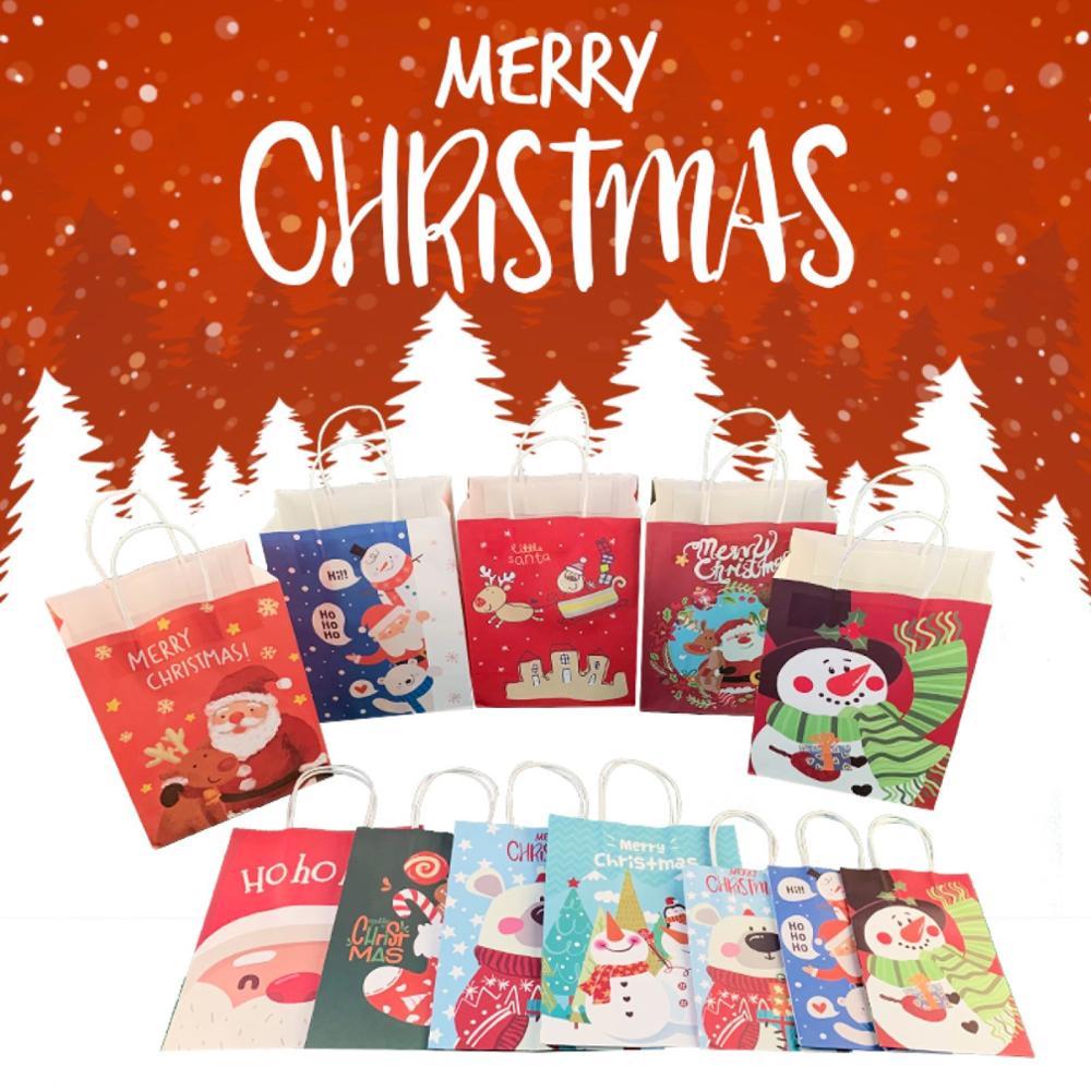 40 قطعة/الوحدة! 2019 أكياس هدايا عيد الميلاد من ورق الكرافت ، حقيبة ورقية بمقابض ، حقيبة تخزين ، أسعار الجملة