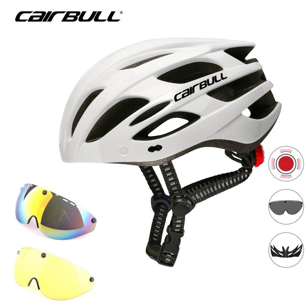 Cairbull-casco de ciclismo con 3 lentes, luz LED trasera con visera extraíble,...