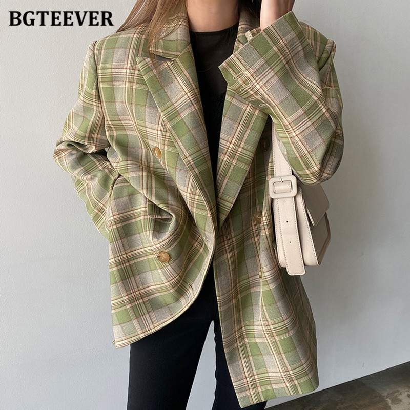 BGTEEVER Vintage Loose Women Plaid Blazer 2020 Autumn Chic Double Breasted Female Long Sleeve Suit J