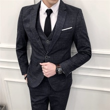 Formal professional three-piece suit men business dress spring and summer