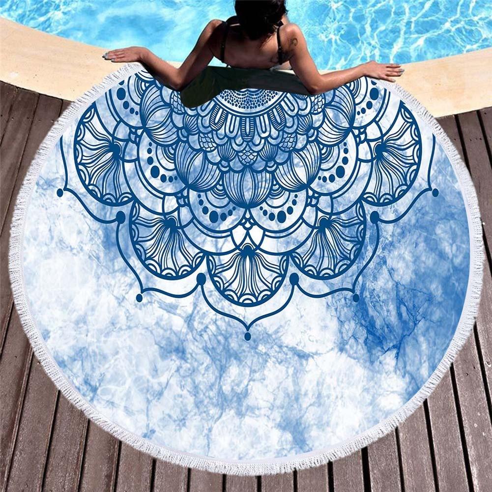 منشفة شاطئ دائرية من الألياف الدقيقة مع ماندالا ، منشفة استحمام ، شال واقي من الشمس ، وسادة سفر للمنزل ، سجادة يوجا للنزهات مع شرابة