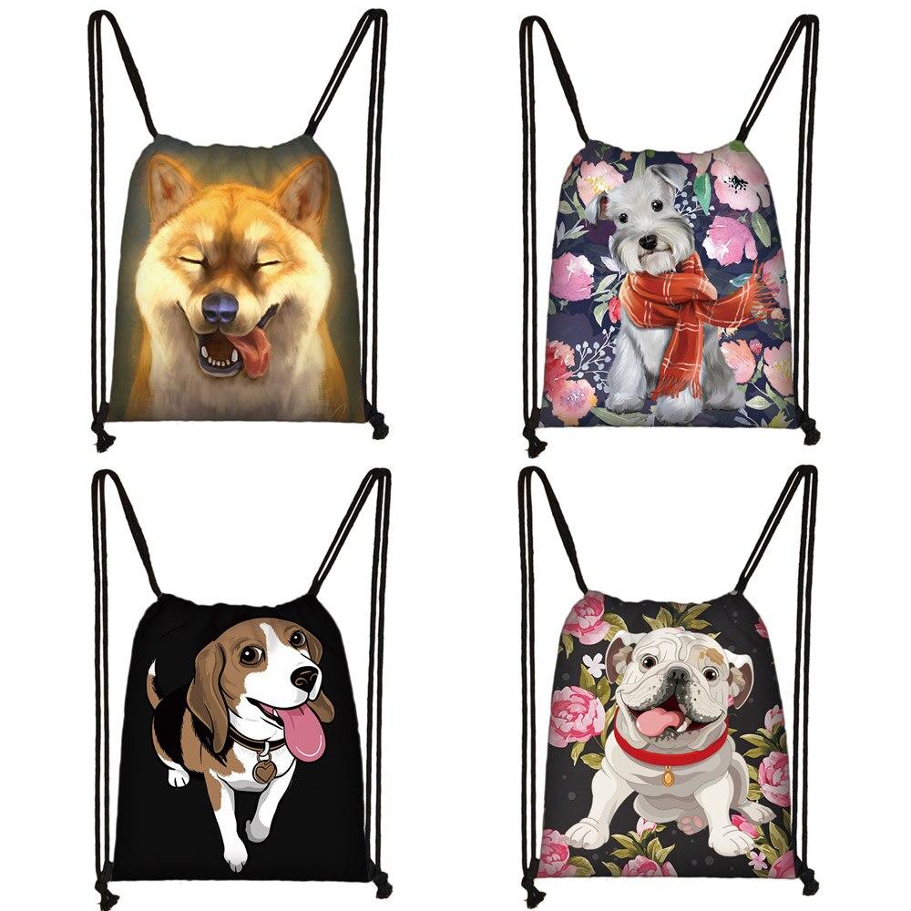 Милый Йоркширский терьер/Шиба ину/Бигль/Бульдог с принтом, сумка на шнурке, женская модная сумка для хранения, рюкзак для путешествий для щенков и собак