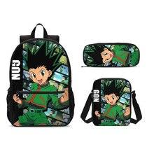 3 pièce/ensemble Hunter X Hunter enfants école sac à dos garçons cartable enfants dessin animé sacs décole étudiant crayon Bookbag Mochila Infantil