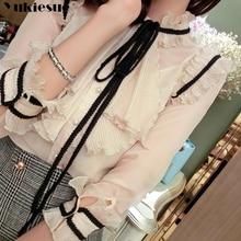 woman blusas mujer elegantes summer white ruffless bow Long sleeve Women's shirt Top blouses and shi