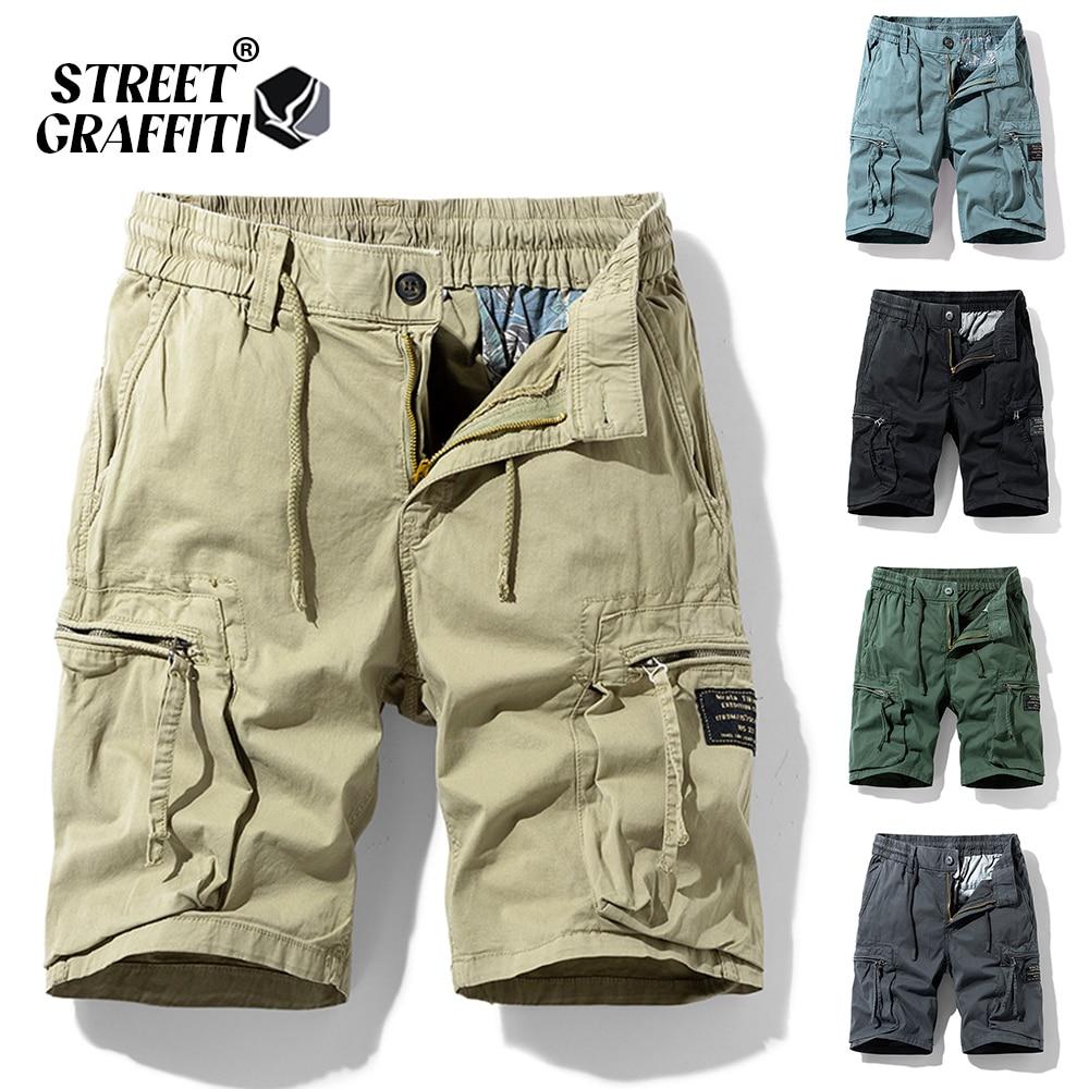 2021 New Spring Men Cotton Cargo Shorts Clothing Summer Casual Breeches Bermuda Fashion Beach Pants