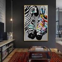 Affiche abstraite avec animaux zebre  peinture a lhuile sur toile  Art mural moderne pour decoration de salon et de maison