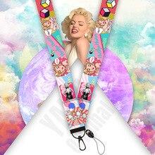 20 pièces Monroe bracelet 3D impression ruban sac pendentif Sexy femme longes coque de téléphone porte-Badge doux rose porte-clés KB2342