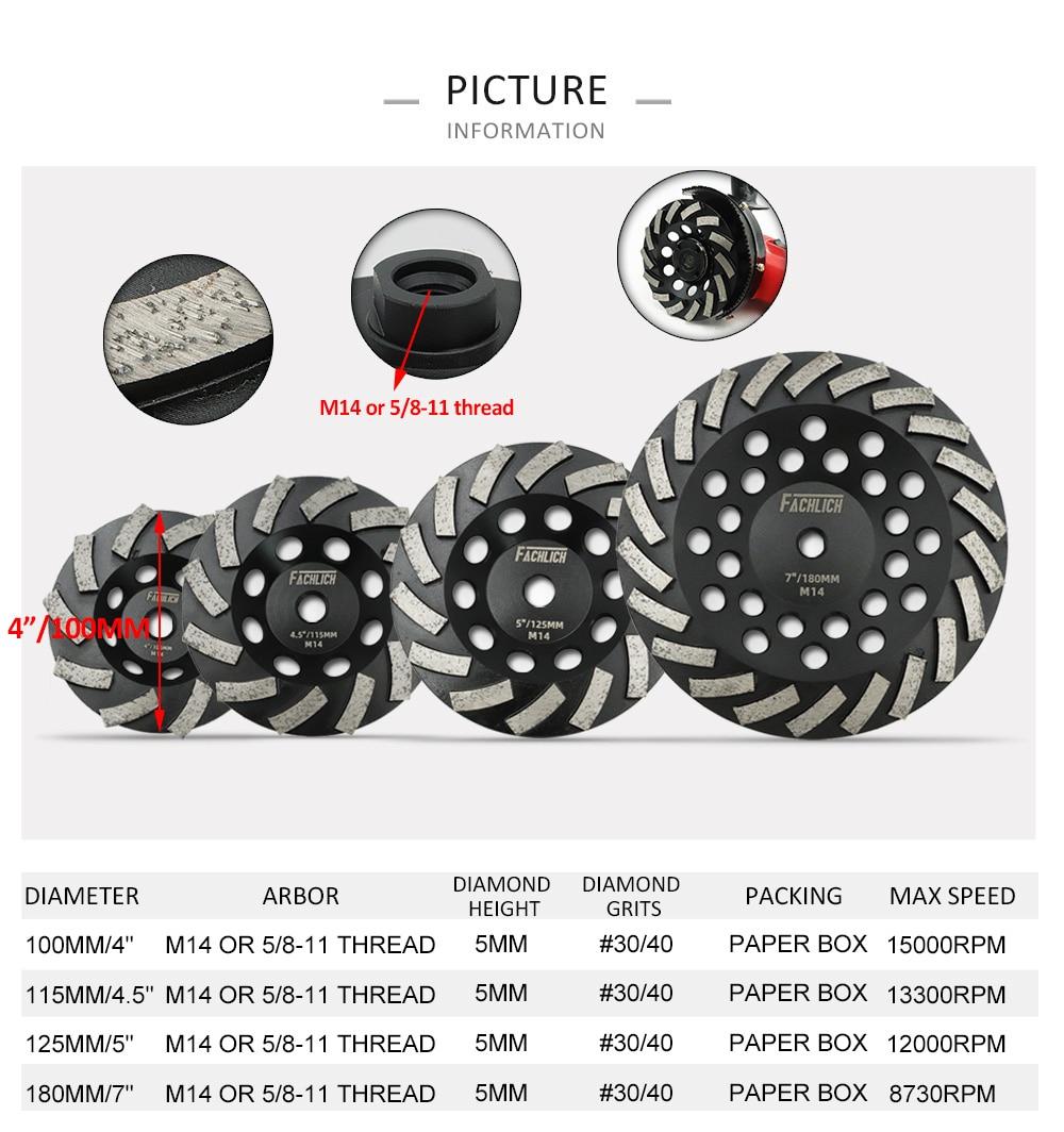 Fachlich 1pc Dia 100/115/125/180mm Diamond Turbo Row Cup Grinding Wheel Concrete Sanding Disc M14 thread for Granite Marble