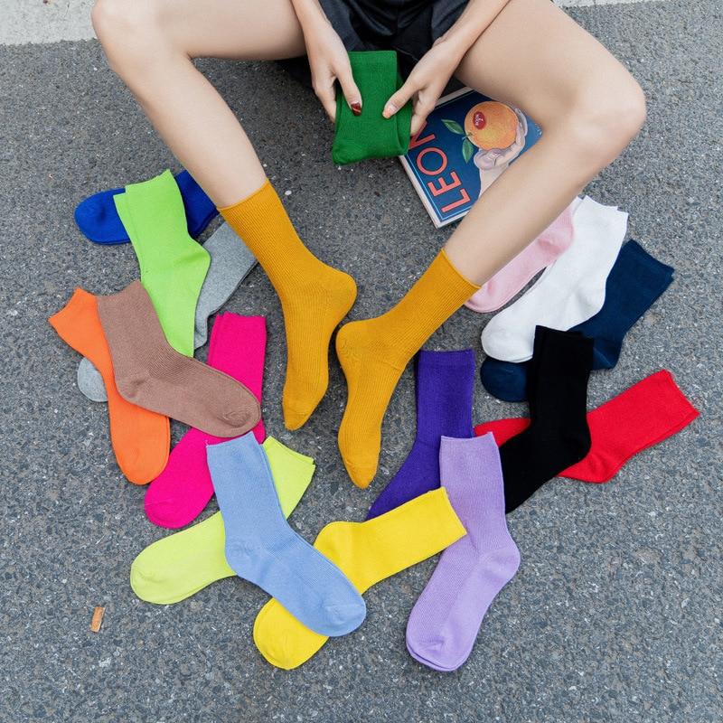 soft cotton Fluorescence colors 34,35,36,37.38,39 EU Size Women Casual Socks Novelty Cute Candy Colors Fun Happy