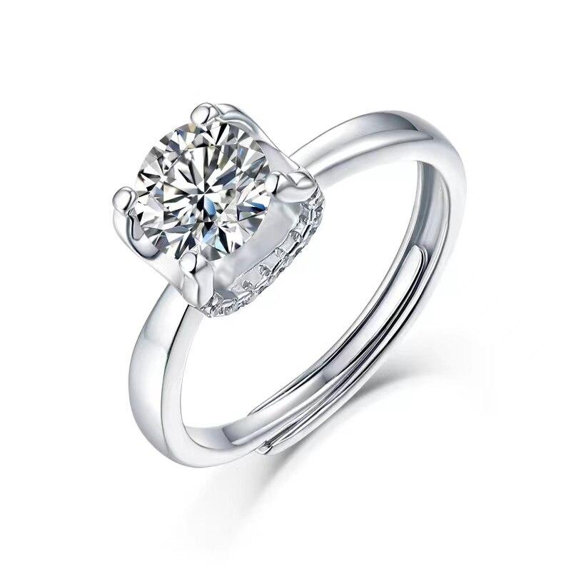 Модные обручальные кольца 1-3 карат муассанит для женщин 18k позолоченные S925 Серебряные Муассанит регулируемое кольцо Подарок на годовщину