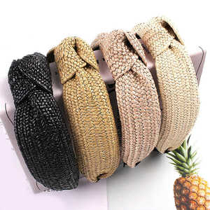 Korean Knotted Hair Hoop Bezel Wide Hairbands Handmade Straw Headband Headwear Weaving Turban For Women Girls Hair Accessories