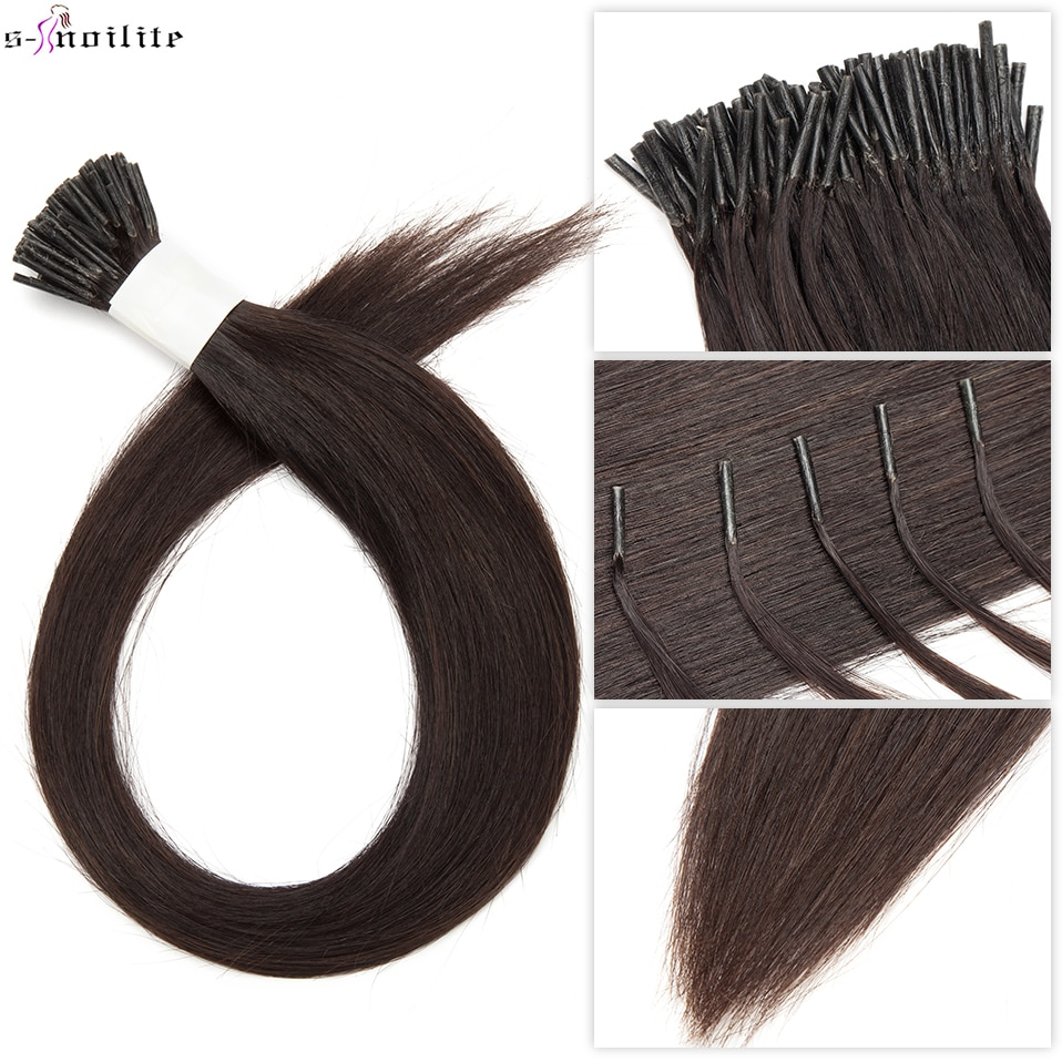 S-noilite 0.5g/s I tip Hair Extensions Human Hair Keratin Fusion 16inch-22inch Human Hair Pre Bonded Stick Straight Natural Hair