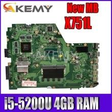 Akemy X751LX carte mère pour ASUS X751LX X751LK X751LKB carte mère dordinateur portable i5-5200U 4GB RAM GTX950M