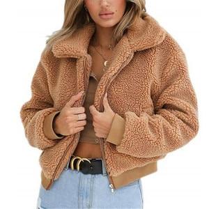 Women Casual Teddy Bear Coat Ladies Autumn Winter Warm Fleece Zip Outwear Long Sleeve Loose Sexy Jacket Oversized Overcoat