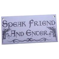 speak friend and enter wooden hanging man cave gift plaque dad pub bar sign