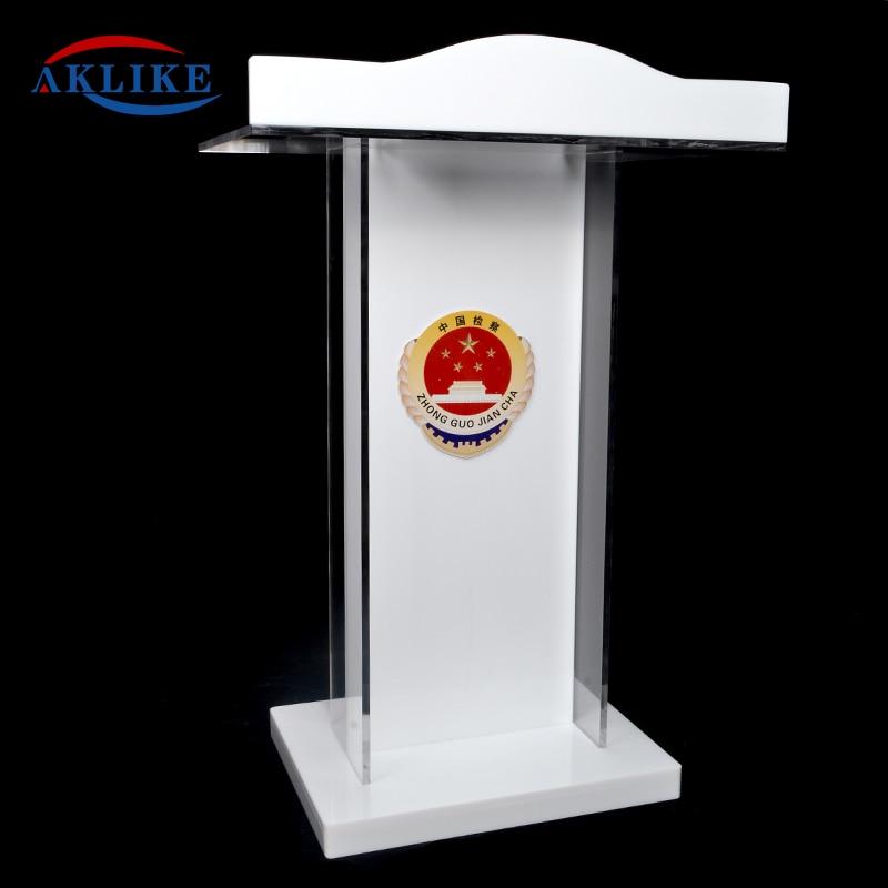WhiteAcrylic Smart Podium Plexiglass Pulpit School Church Lectern WithModern Stand Up Lecture Business Speaker Rostrum Design