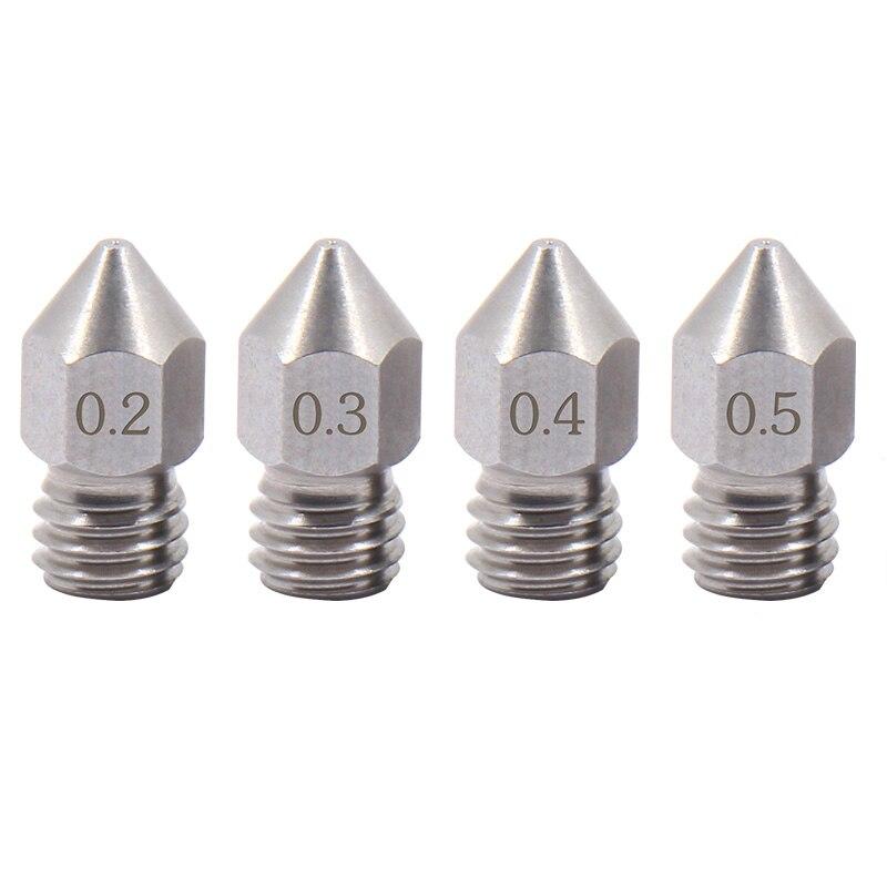 4 piezas de boquilla de acero inoxidable nítida MK8 para MK Micro Swiss Creality CR-10 Ender 3 Ender4, crafbot, prusa i3 3D impresora