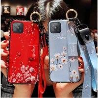 for oppo reno 4z fashion bling glitter long neck strap wristband embossing flower bracket case cover for oppo reno 5z 5 pro
