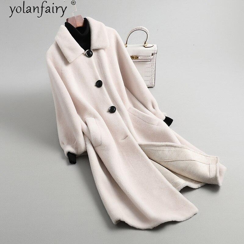 Echtpelz Mantel Weibliche Jacke 100 Wolle Winter Mantel Frauen 2020 Lange Frauen Kleidung Mode Mujeres Abrigos 1903 Pph1541
