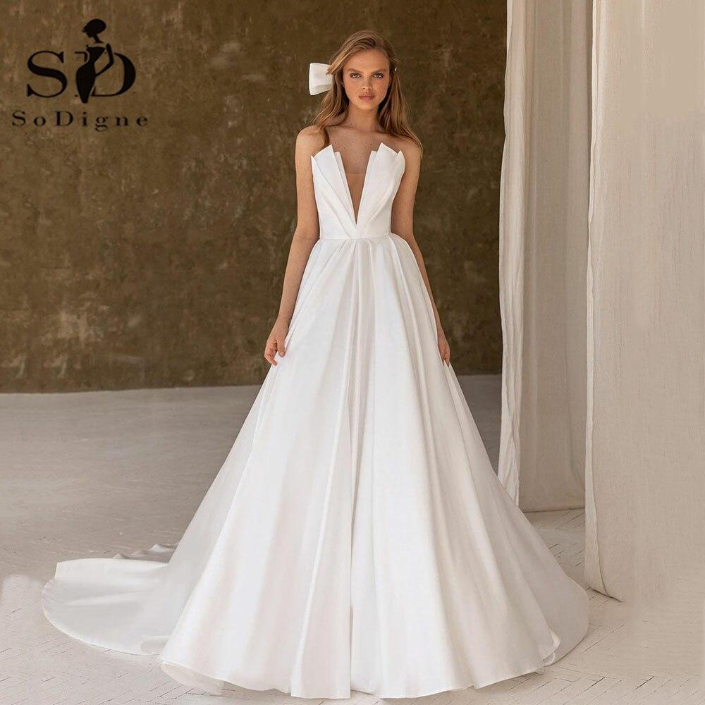 Современное атласное свадебное платье soworthy в Дубае, сексуальные многоярусные Свадебные платья с V-образным вырезом, ТРАПЕЦИЕВИДНОЕ ПЛАТЬЕ ...