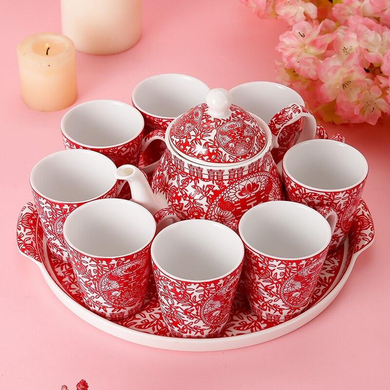 ورقة قطع الزفاف المفروشات المنزلية المهر الأحمر الزفاف الصينية طقم شاي نخب الزفاف الأسرة