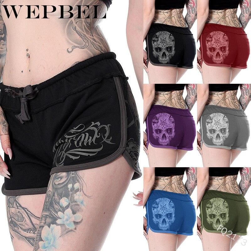 WEPBEL повседневные короткие брюки женские летние свободные шорты с принтом черепа шорты с завязками на талии шорты размера плюс S-5XL