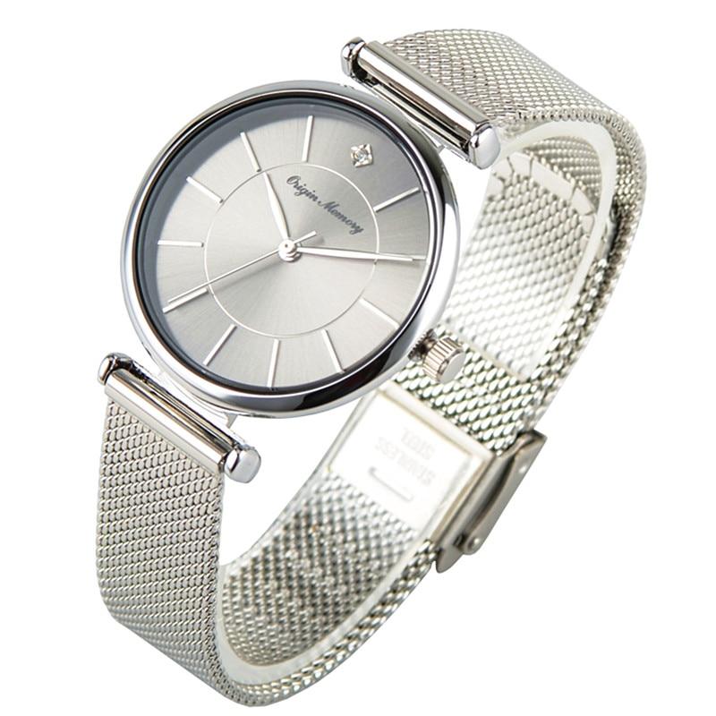 ساعة يد بحركة كوارتز يابانية للنساء ، ماركة فاخرة ، حزام فولاذي ، ضمان ساعة ، فضي ، 32 مللي متر
