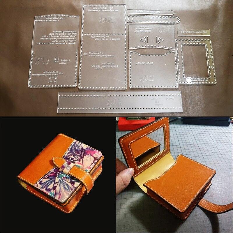 1Set DIY Kraft Paper Template New Retro Cosmetic Bag Lipstick Pack Storage Bag Leather Craft Pattern DIY Stencil Sewing Pattern