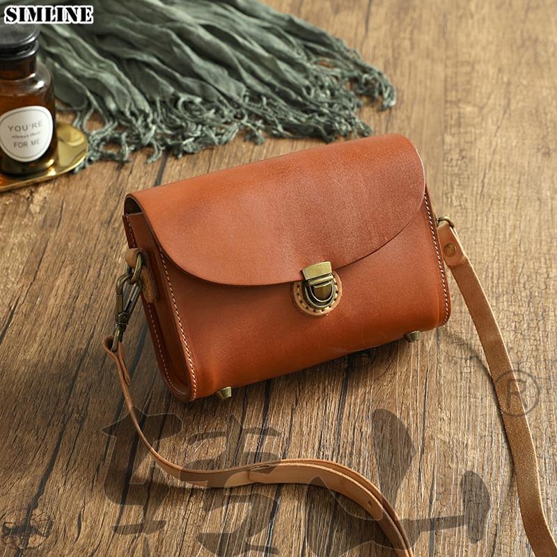 SIMLNE 2020 جلد طبيعي حقيبة ساعي للنساء خمر اليدوية حقيقية جلد البقر حقيبة يد صغيرة الكتف حقائب كروسبودي الإناث