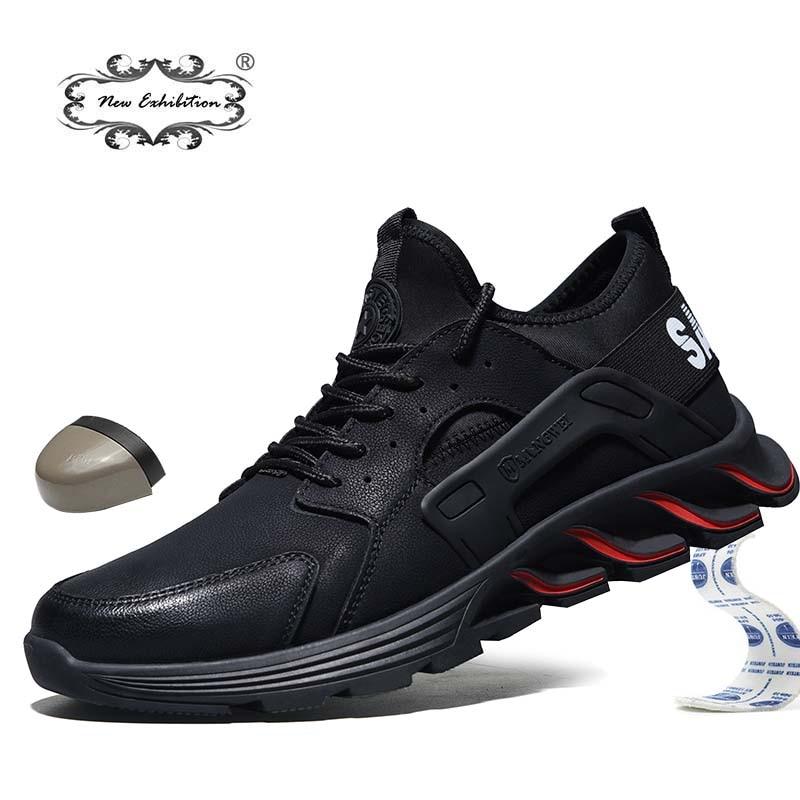New exhibition waterproof Safety Shoes 2019 Autumn Winter Outdoor Men Steel Toe Cap Anti-smashing fashion Lightweight work Boots