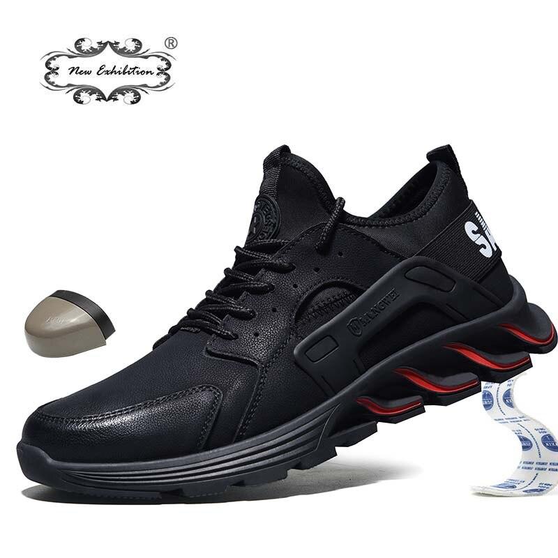 Nueva exposición de zapatos de seguridad a prueba de agua, Otoño Invierno 2019, sombrero de punta de acero para hombres, botas de trabajo ligeras de moda Anti-rotura