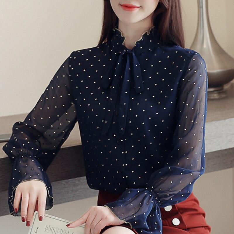 Moda de manga larga de punto de gasa blusa Mujer Camisas